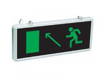«Эвакуационный выход вверх налево»