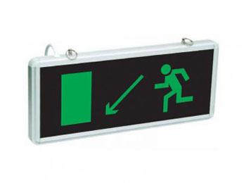 «Эвакуационный выход вниз налево»