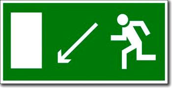 «Направление к эвакуационному выходу налево вниз»