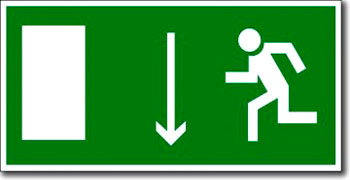 «Указатель двери эвакуационного выхода (левосторонний)» табличка