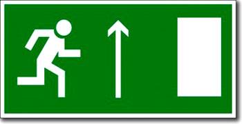 «Направление к эвакуационному выходу прямо (правосторонний)»