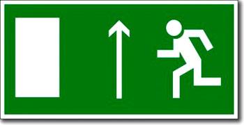 «Направление к эвакуационному выходу прямо (левосторонний)»