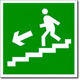 Табличка «Направление к эвакуационному выходу по лестнице вниз»