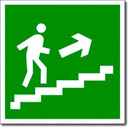 Табличка «Направление к эвакуационному выходу по лестнице вверх»