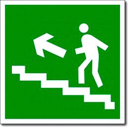 «Направление к эвакуационному выходу по лестнице вверх»