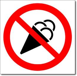 Табличка «Вход с мороженным запрещен»