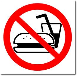 Табличка «Употребление пищи запрещено»