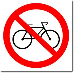 Наклейка «Вход с велосипедами запрещен»