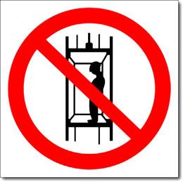 Табличка «Запрещается подъем людей по шахтному стволу»