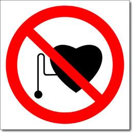 Знак «Запрещается присутствие людей со стимуляторами сердечной деятельности»
