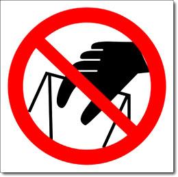 Наклейка «Запрещается брать руками,сыпучая масса»