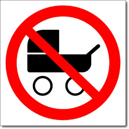 Знак «Вход с колясками запрещен»