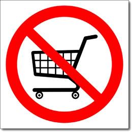 Табличка «Вход с тележками запрещен»