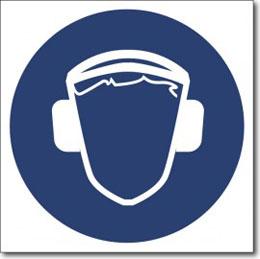 Табличка «Работать в защитных наушниках»