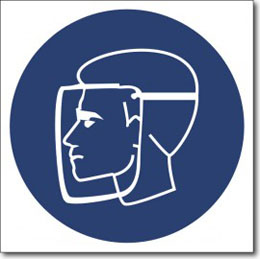 Знак «Работать в защитном щитке»
