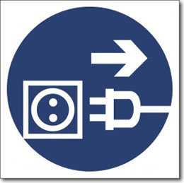 Табличка «Отключить штепсельную вилку»