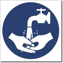 Табличка «мыть руки»