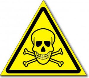 Наклейка «Опасно, ядовитые вещества»