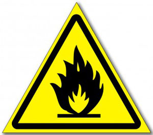 Наклейка «Пожароопасно, легковоспламеняющиеся вещества»