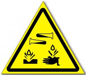 Наклейка «Опасные, едкие коррозийные вещества»