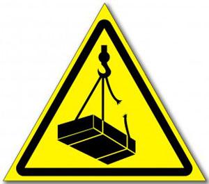 Табличка «Опасно, возможно падение груза»