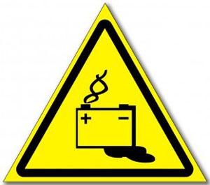 Табличка «Осторожно аккумуляторные батареи»