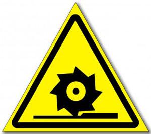 Табличка «Осторожно режущие валы»
