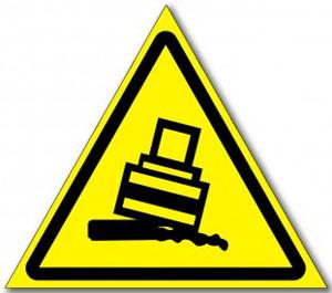 Табличка «Осторожно возможно опрокидывание»