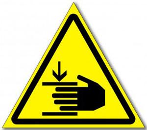 Табличка «Осторожно, возможно травмирование рук»
