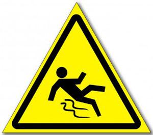 Табличка «Осторожно скользко»