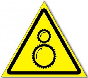 Табличка «Осторожно, Возможно, затягивание..»