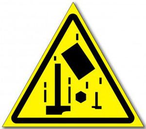 Табличка «Осторожно падающие предметы»
