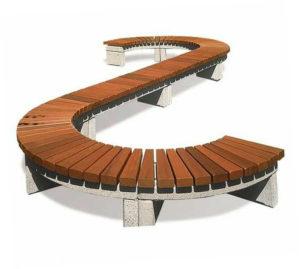 Скамейки с закруглениями и изгибами из различного материала от производителя