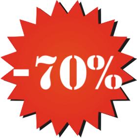 Наклейка минус 70%