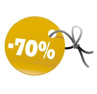 Наклейка минус 70% скидка